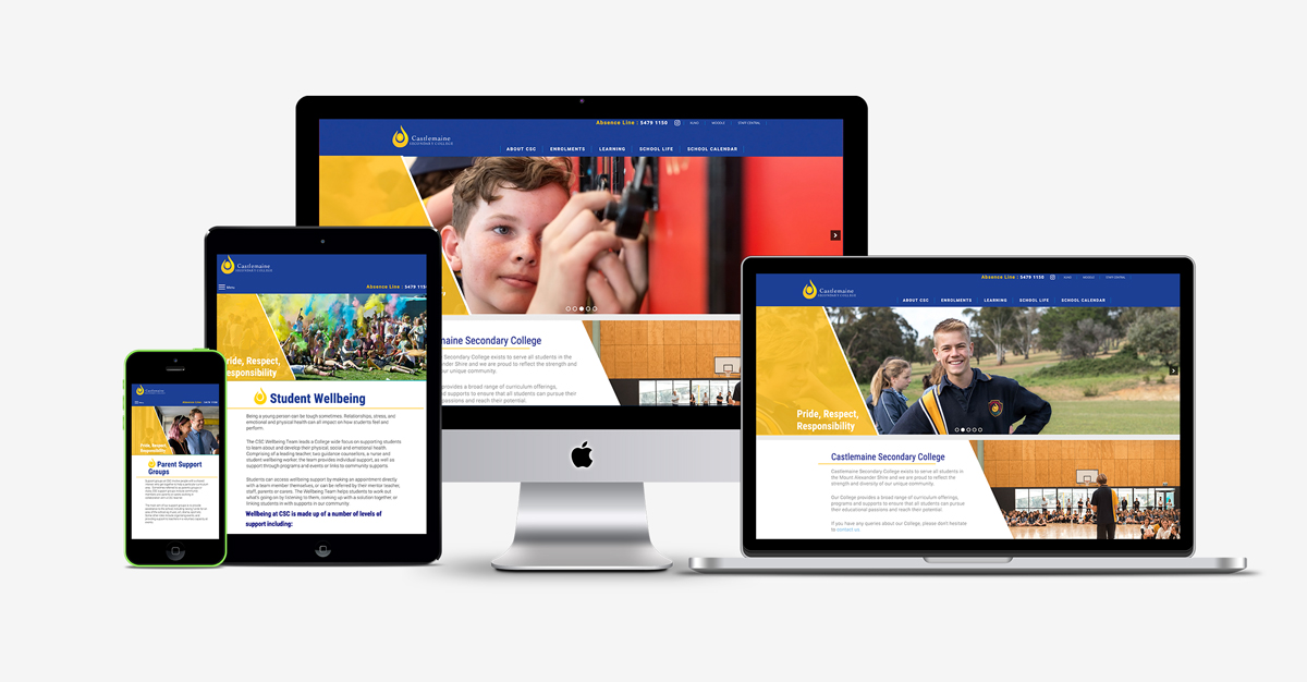 a mock up of Castlemaine Secondary College responsive on PC, laptop, tablet and phone.